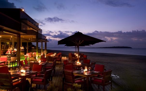 Фото обои океан, вечер, ресторан, отель, курорт, терраса