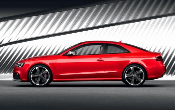 Фото обои Audi, Красный, Авто, Ауди, RS5, Купэ, Вид сбоку
