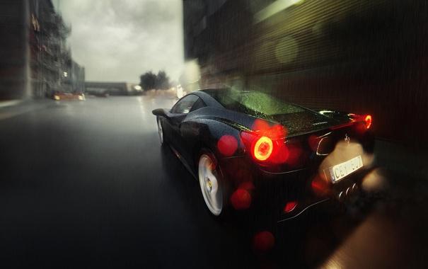 Фото обои дорога, дождь, the dark knight, чёрный