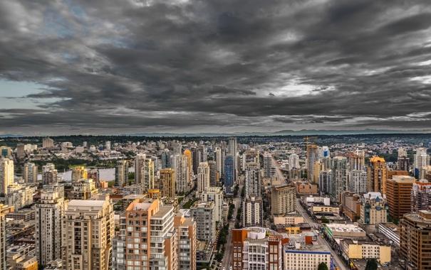 Фото обои skyline, clouds, Vancouver