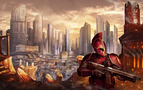 Фото обои город, оружие, воин, арт, мегаполис, доспех