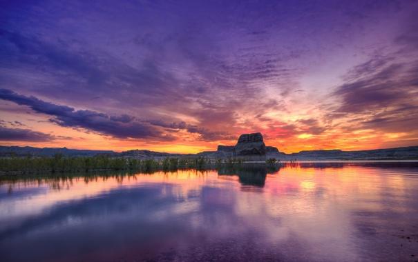 Фото обои закат, небо, озеро, скала