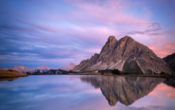 Фото обои пейзаж, горы, природа, озеро, отражение, рассвет