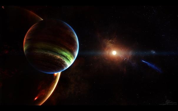 Фото обои космос, звезды, планеты