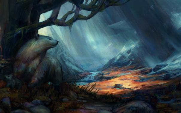 Фото обои снег, горы, река, дерево, долина, медведи, арт