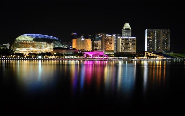 Фото обои вода, ночь, город, огни