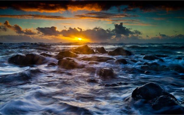 Фото обои море, природа, камни, берег, прибой