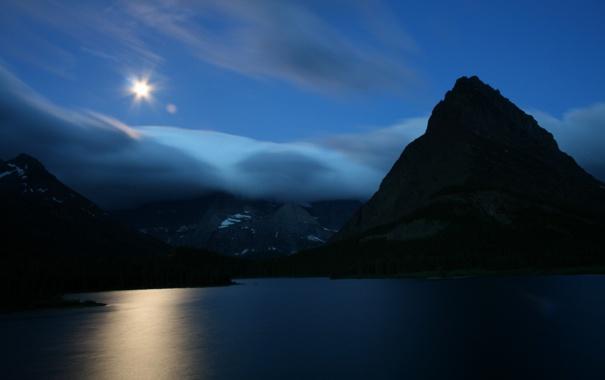 Фото обои небо, вода, горы, ночь, гладь, отражение, фото
