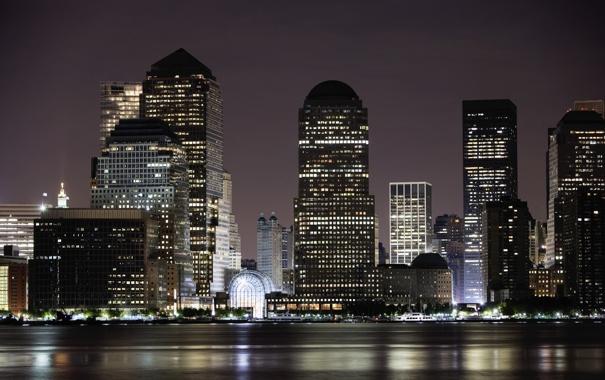 Фото обои свет, ночь, город, огни, здания, Нью-Йорк, небоскребы