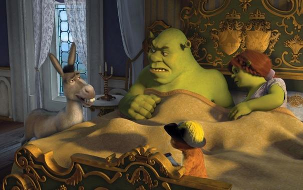 Фото обои мультфильм, кровать, шрек, спальня