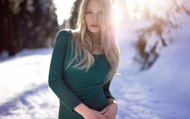 Фото обои зима, солнце, веснушки, Martin Kühn, Lisa-Marie
