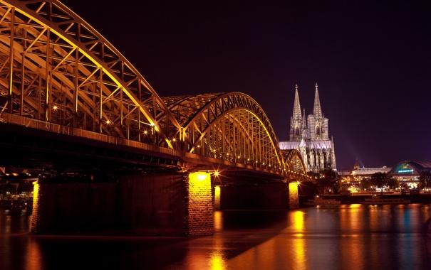 Фото обои вода, свет, ночь, мост, город, отражение, Германия