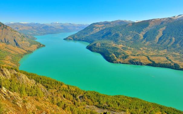Фото обои простор, река, небо, природа, горы, склон