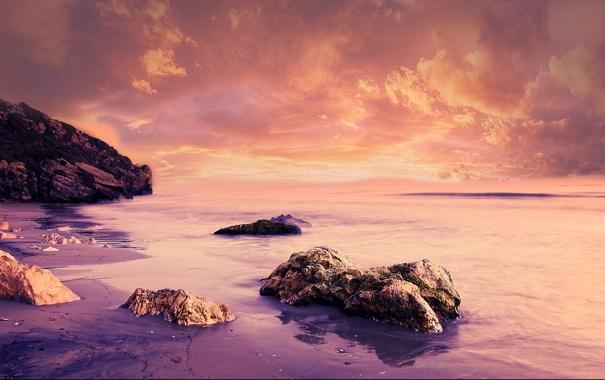 Фото обои тучи, скала, камни, океан, берег, photo, photographer