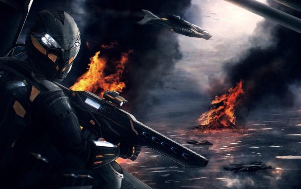 Фото обои самолет, война, автомат, шлем, под огнем