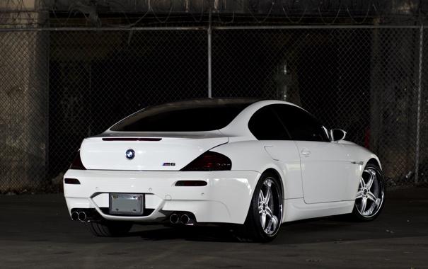 Фото обои bmw, бмв, white, задок, e63, углепластиковая крыша, спорттивное купе
