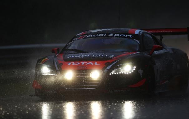 Фото обои дождь, ауди, вечер, гонки, audi r8, race