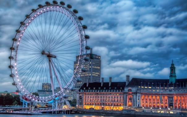 Фото обои небо, облака, огни, река, Англия, Лондон, дома
