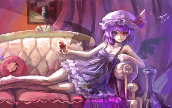 Фото обои диван, вино, рисунок, демон, девочка, touhou, remilia scarlet