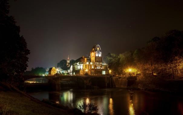 Фото обои ночь, мост, дом, река, здание, Чехия, republic