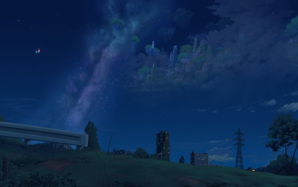 Фото обои облака, ночь, isai shizuka