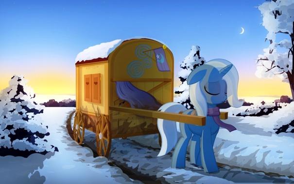 Фото обои дорога, снег, деревья, пони, повозка, My little pony, Trixie