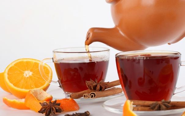 Фото обои чай, апельсин, палочки, чайник, чашки, корица, кожура