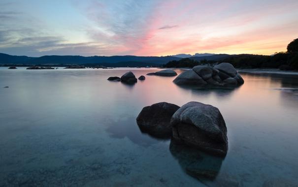 Фото обои небо, озеро, камни