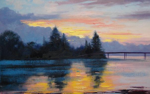 Фото обои Рисунок, Арт, Artsaus, Lake Sunset Painting