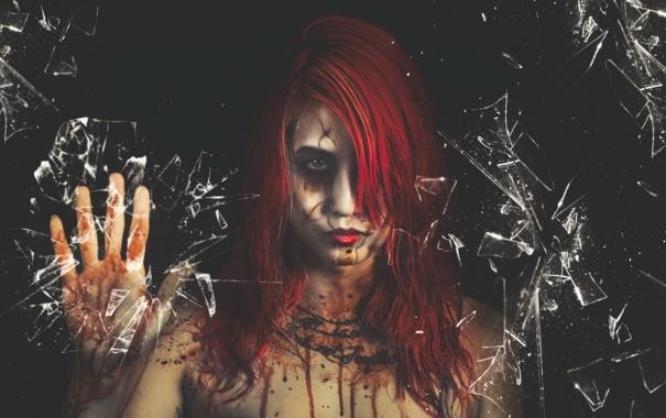 Фото обои стекло, девушка, Bloody Mary