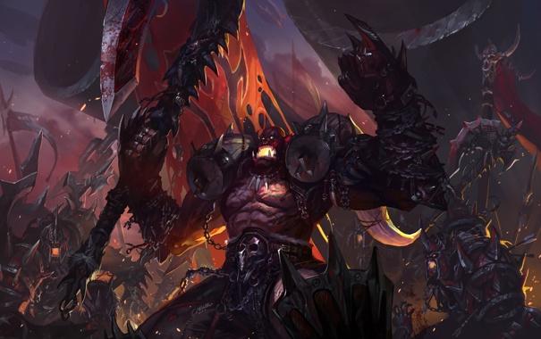 Фото обои оружие, кровь, доспехи, черепа, WoW, World of Warcraft, цепи