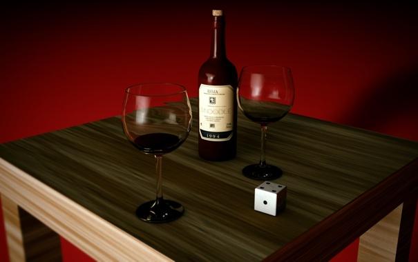 Фото обои стол, вино, бутылка, бокалы, кубик, деревянный, красный фон
