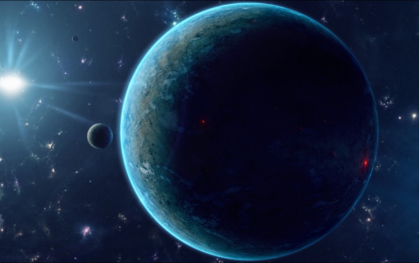 Фото обои звезды, поверхность, огни, планета, спутник, рельеф