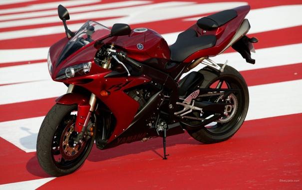 Фото обои красный, гонка, спорт, скорость, мотоцикл, байк, Yamaha