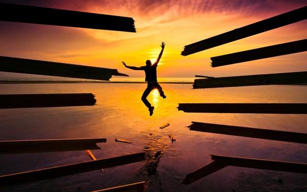 Фото обои небо, солнце, радость, закат, фон, обои, настроения