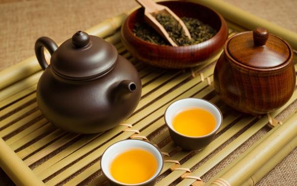 Фото обои чай, чайник, поднос, пиалы