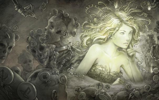 Фото обои девушка, лицо, волосы, арт, зомби, цепи, ярлыки