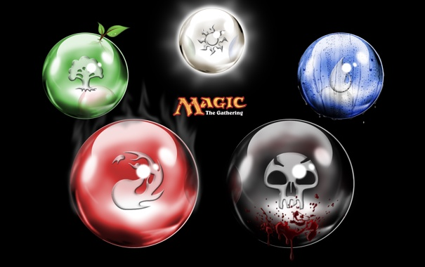 Фото обои green, red, white, black, blue, cards, Magic The gathering