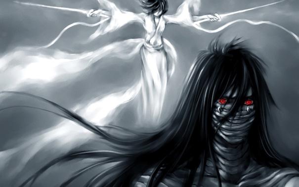 Фото обои взгляд, девушка, оружие, меч, лента, парень, Bleach