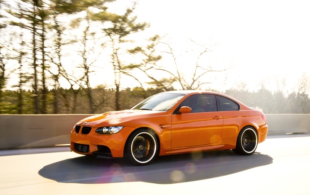 Фото обои оранжевый, bmw, бмв, скорость, orange, e92