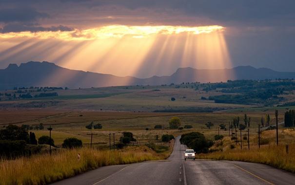 Фото обои дорога, небо, свет, пейзаж