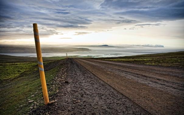 Фото обои дорога, пейзаж, Iceland