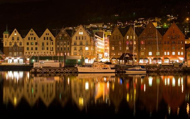 Фото обои ночь, огни, река, дома, яхты