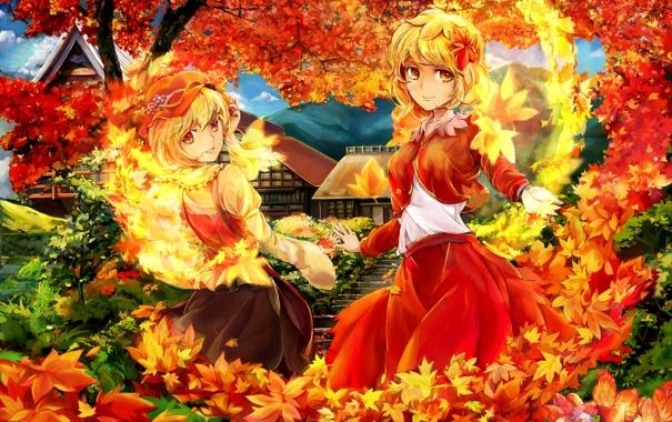 Фото обои осень, листья, деревья, дом, огонь, девочки, желтые