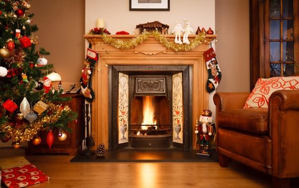 Фото обои зима, комната, огонь, игрушки, елка, кресло, Новый Год