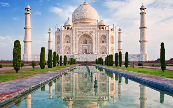 Фото обои замок, Индия, памятник, храм, Taj Mahal, Тадж Махал, Agra