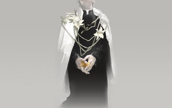 Фото обои лилии, арт, священник, белые цветы, желтая лилия