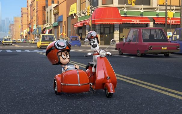Фото обои дорога, улица, мультфильм, дома, очки, мотоцикл, шлем