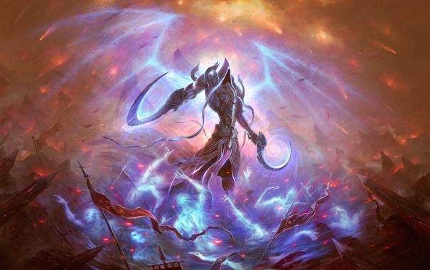 Фото обои арт, души, Diablo 3, серп, жнец, Reaper of Souls, Malthael