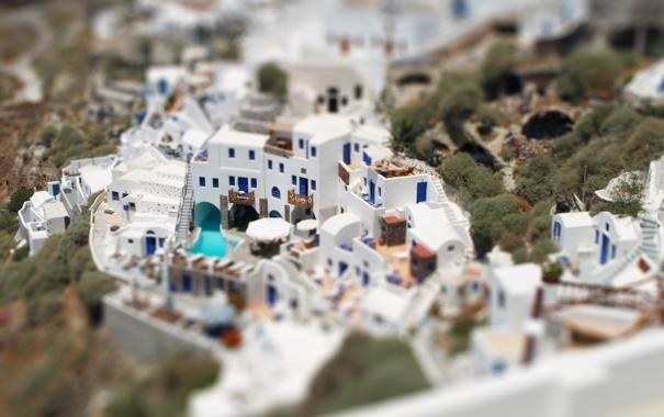 Фото обои дома, белые, Tilt-Shift, греция, санторини